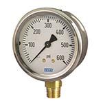 Model 213.53 WIKA Bourdon Tube Pressure Gauges - Stainless Steel Case - Dry Case Model - Liquid-filled Case