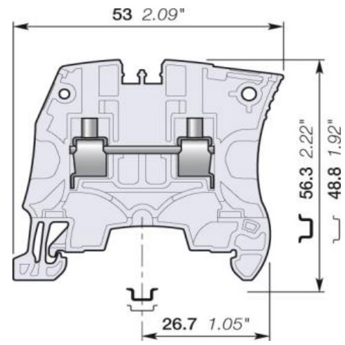 abb zs4 terminal block dimensions
