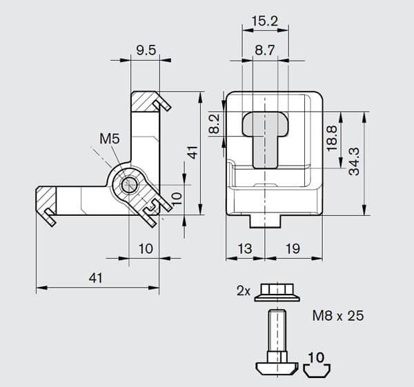 40 45 series panel mount gusset kit CHART