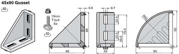 45x90 gusset kit profile