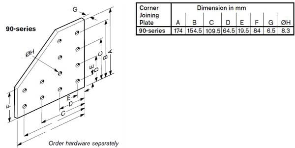 corner joining plate 90 series profile