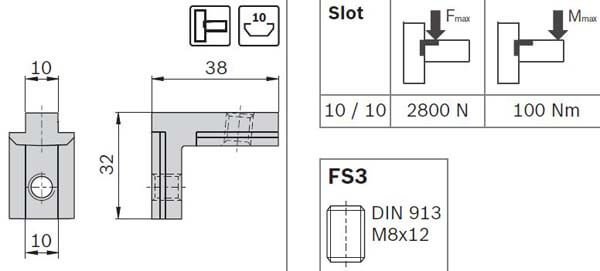 outside guesset with set screws profile
