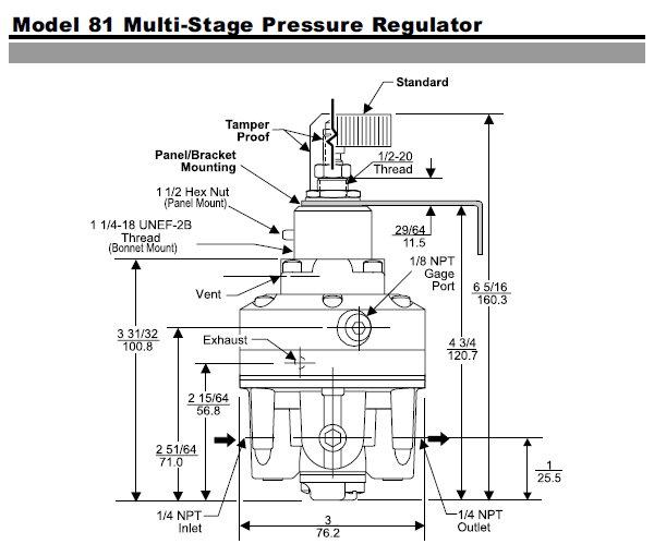 fairchild model 81 multi-stage pressure regulator
