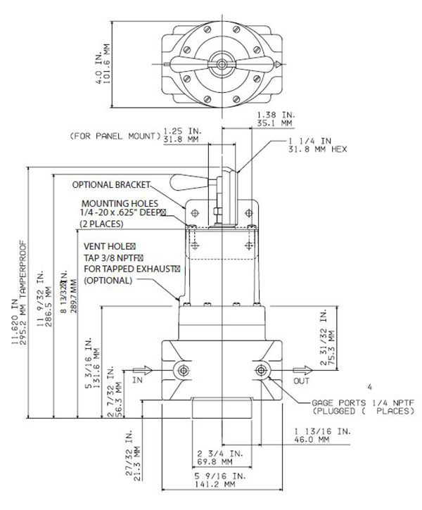 fairchild regulator model 100 dimensions