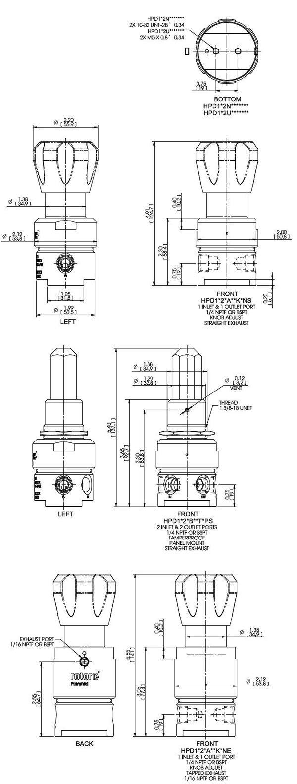 fairchild regulator model hpd dimensions