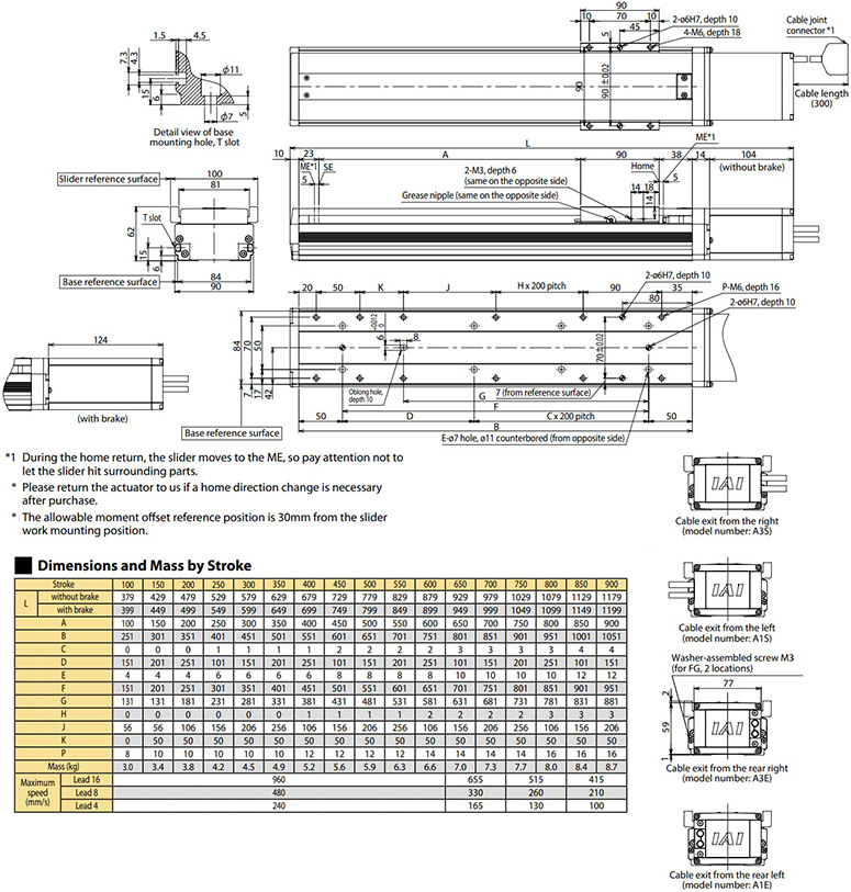 iai isb/sspa actuator dimensions