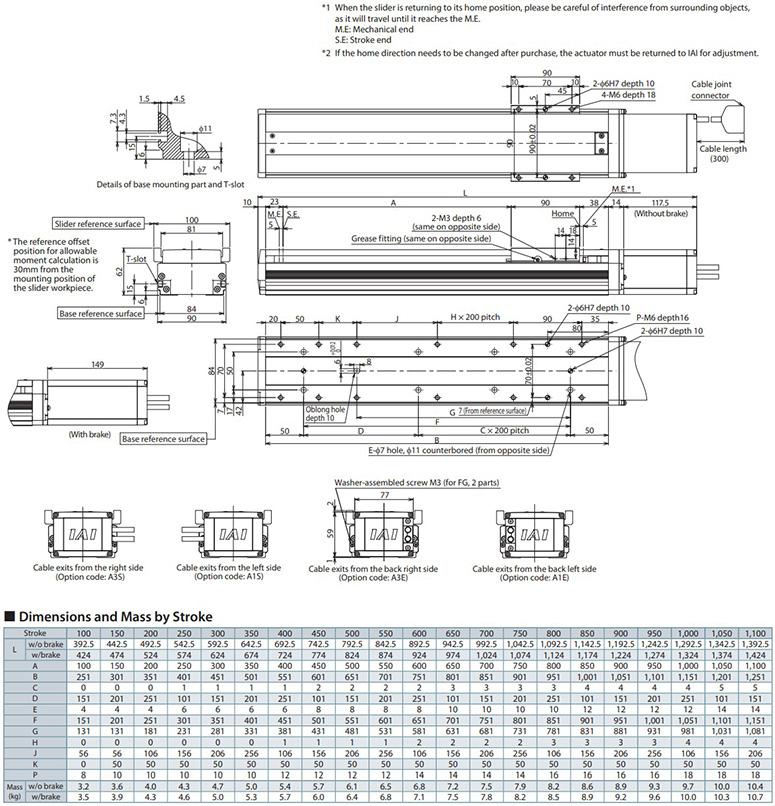 iai isb-sxm actuator dimensions