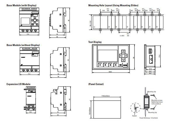 cpu base module dimensions
