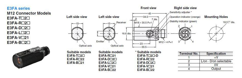 e3fa-dp25-f2 omron built-in amplifier photoelectric sensor