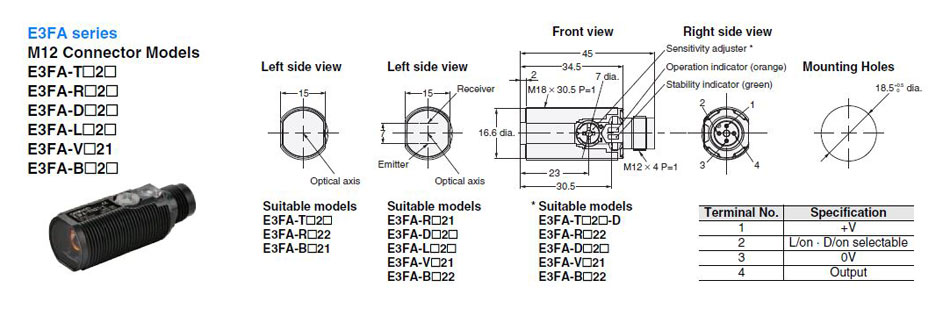 Neuer Omron Sensor E3FA-RP21 E3FARP21 xy