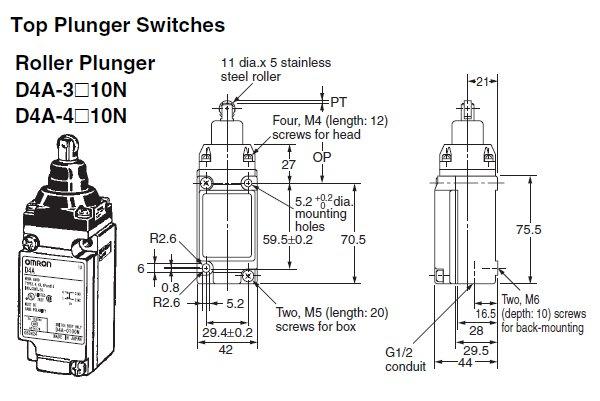 d4a 2510 n general purpose limit switch omron valin rh valinonline com Ball Plunger Plunger Button