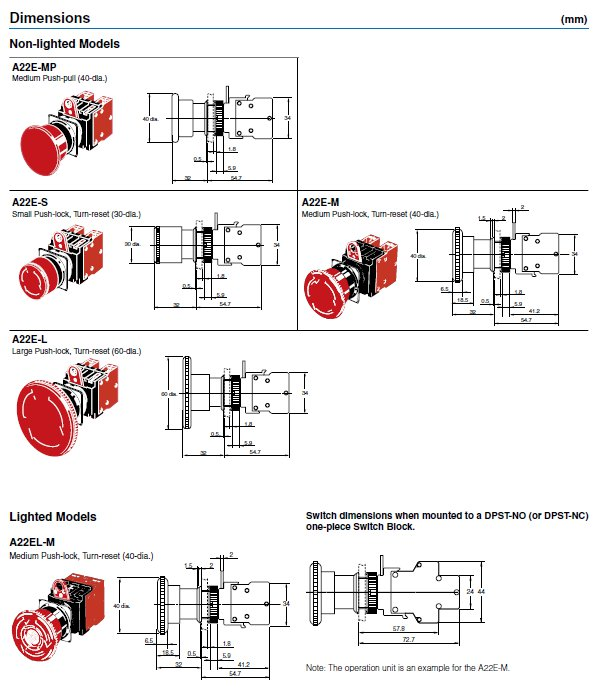 a22e m 12 omron sti emergency stop switch valin. Black Bedroom Furniture Sets. Home Design Ideas