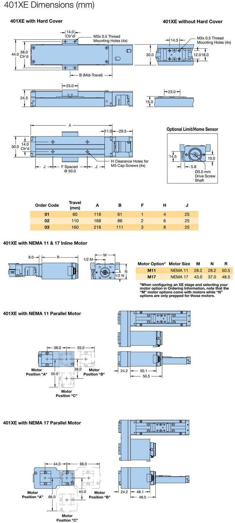 parker 401xe series dimensions