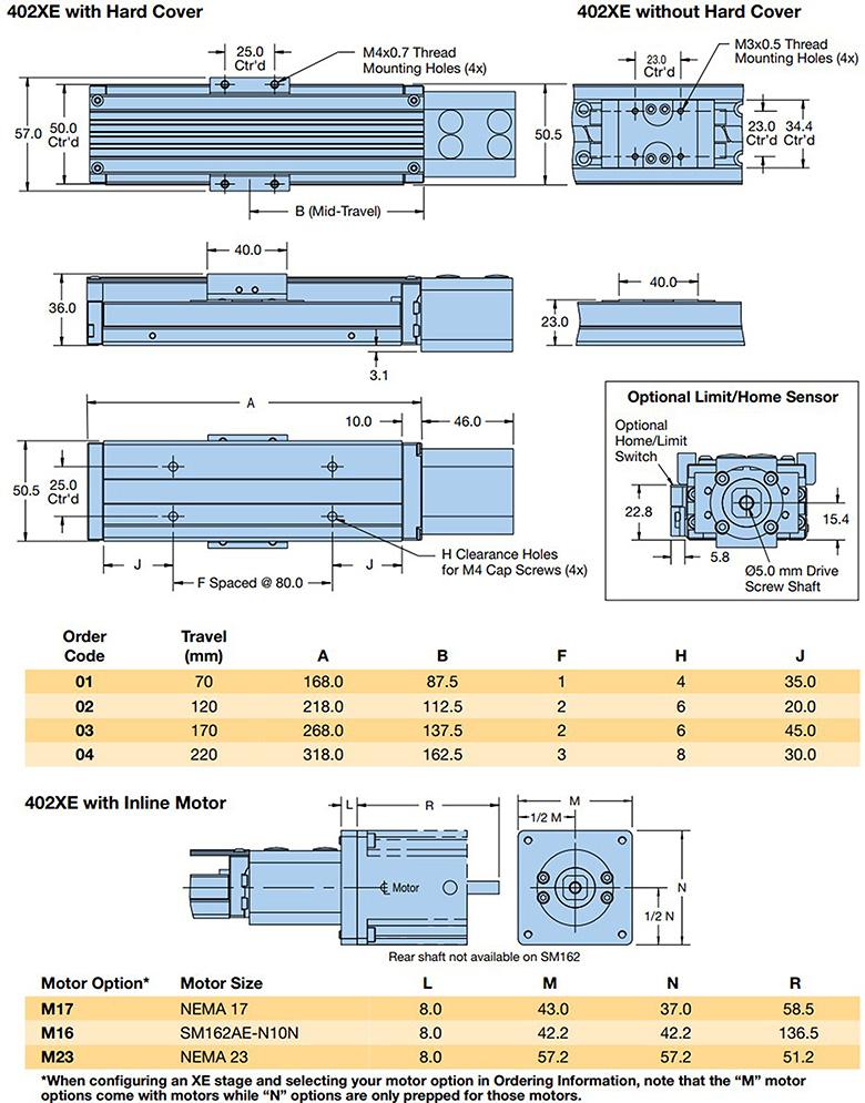 parker 402xe series dimensions
