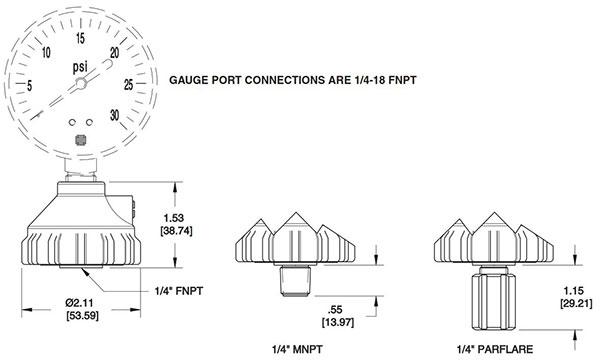 Parker Veriflo Gauge Protector GP-130-00 Dimensions