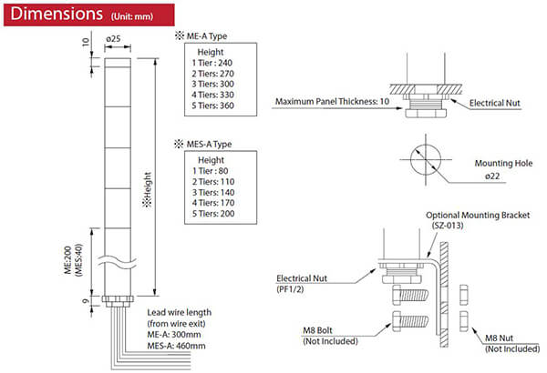 mes 102a y mes a 25mm led short signal tower patlite valin rh valinonline com