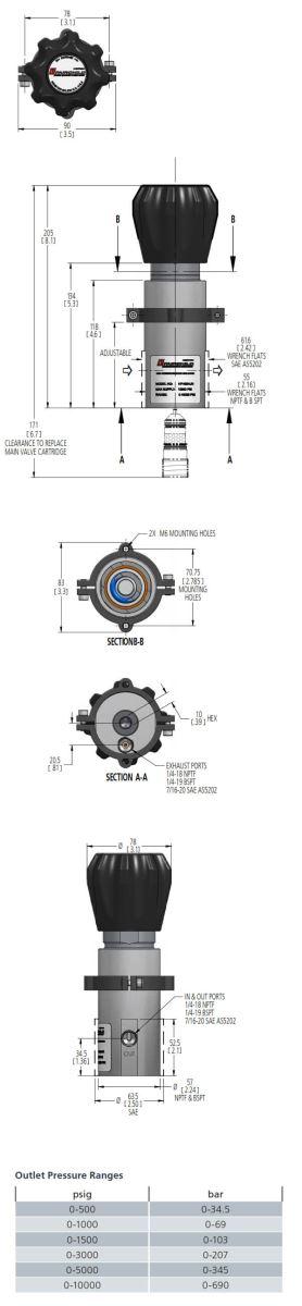 rotork high pressure regulator hph dimensions