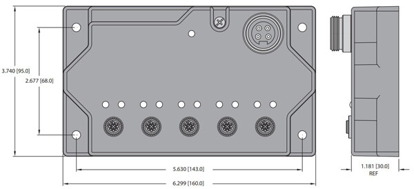 turck 5 port on machine ethernet switch dimensions
