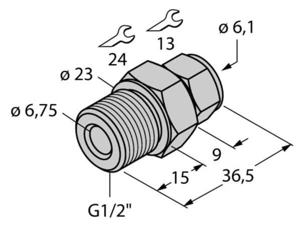 Turck 6mm straight compression fitting profile