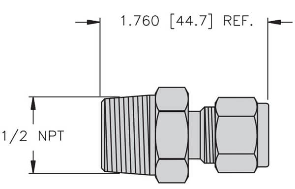 turck compression fitting for temperature instrument profile