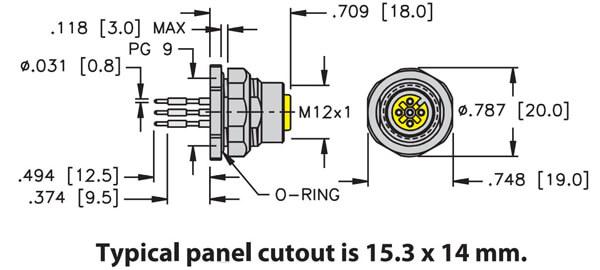 Turck M12 rear mount pcb pins female receptacle profile