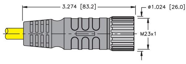 Turck M23 19 pin straight female cordset profile