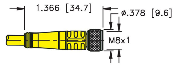 turck m8 picofast 3 wire female cordset profile
