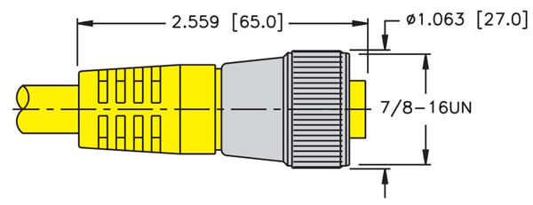 turck minifast 2 and 3 wire straight female cordset dimension