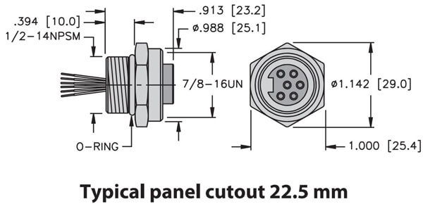 turck minifast front mount female receptacle dimension