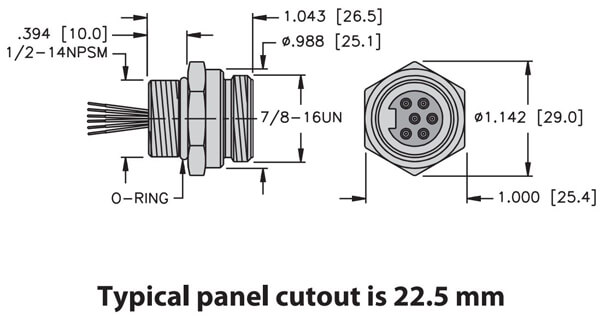 turck minifast front mount male receptacle dimensions