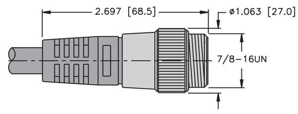 Single Ended Cordset Male Turck Rsm 44-10M 4 Pole Straight Rsm 44-10M