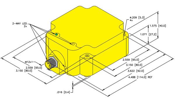 Turck Q80 rectangular inductive sensor profile