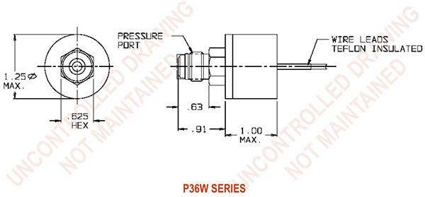 UE Precision Sensors P36W Series Dimensions