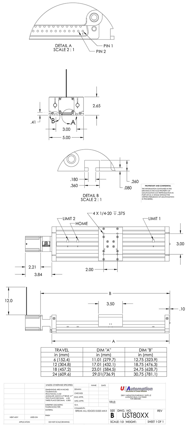 usautomation twintrac series actuator dimensions
