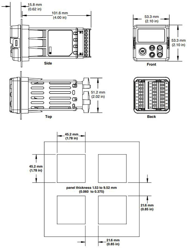 Watlow EZ-ZONE PM Controller 1/16 DIN Dimensions