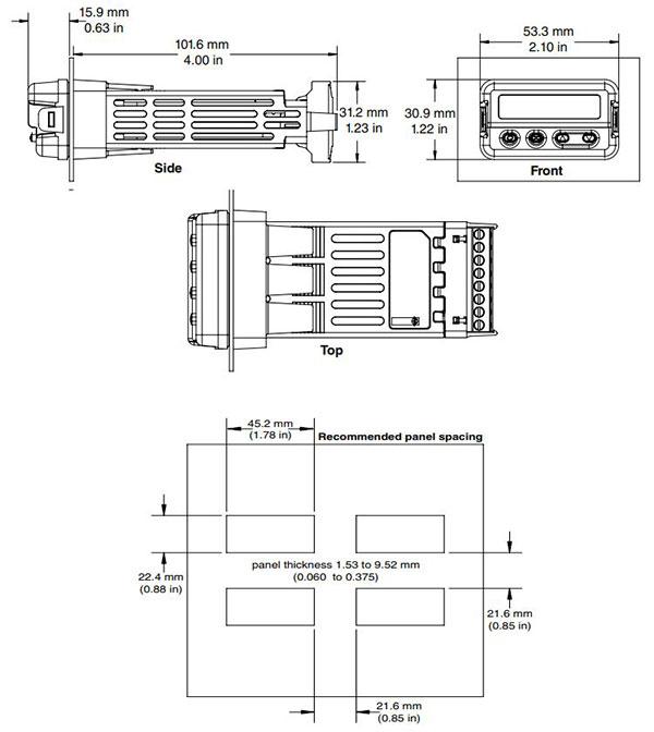 watlow ez-zone pm controller 1/32 din dimensions