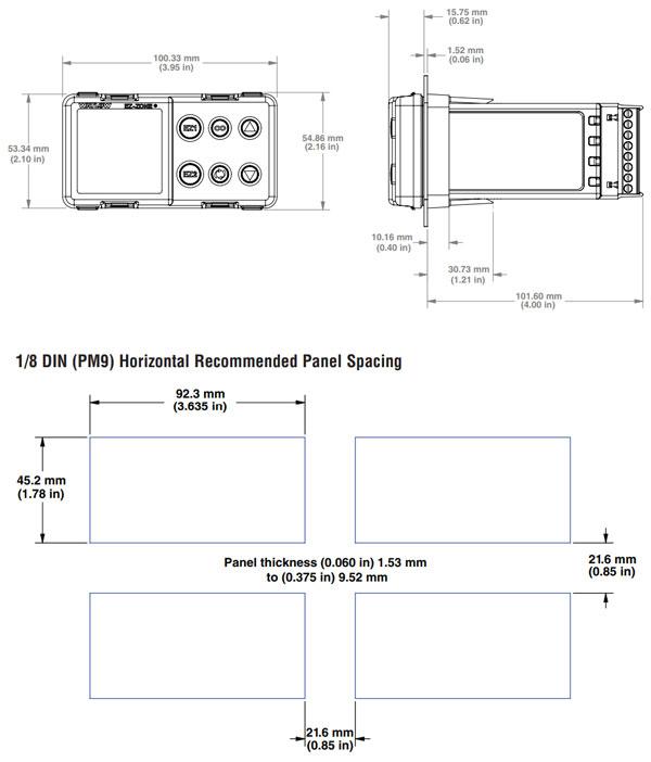 watlow ez-zone pm controller 1/8 din horizontal dimensions