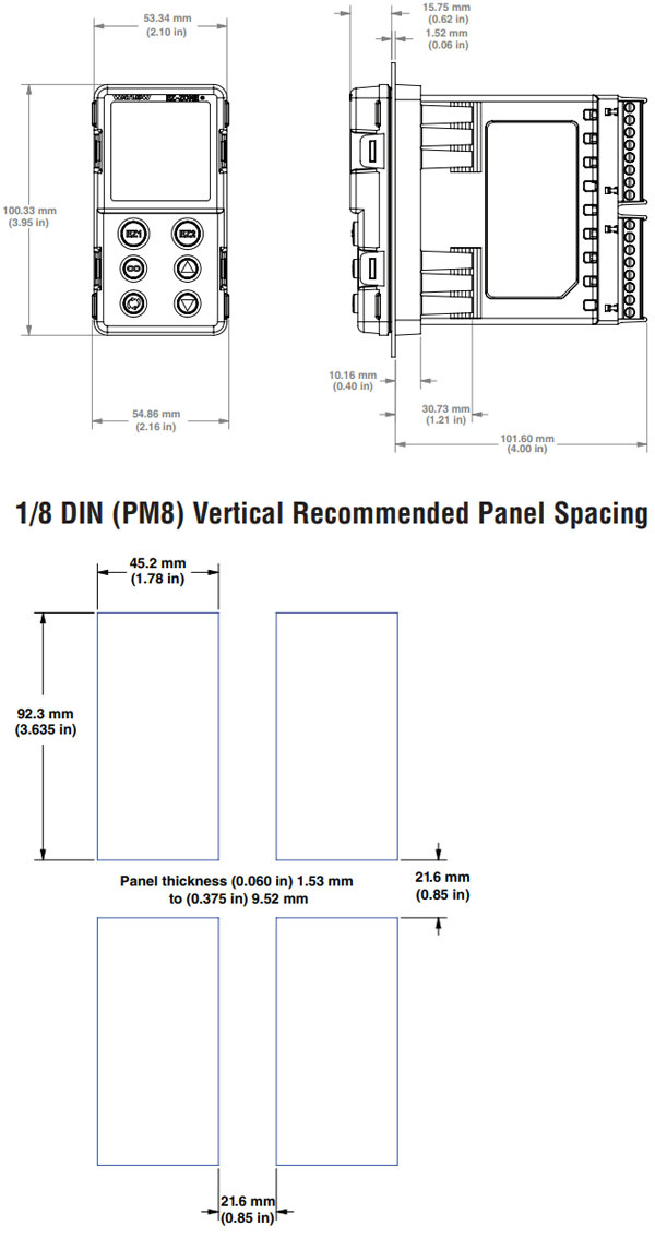 watlow ez-zone pm controller 1/8 din vertical dimensions
