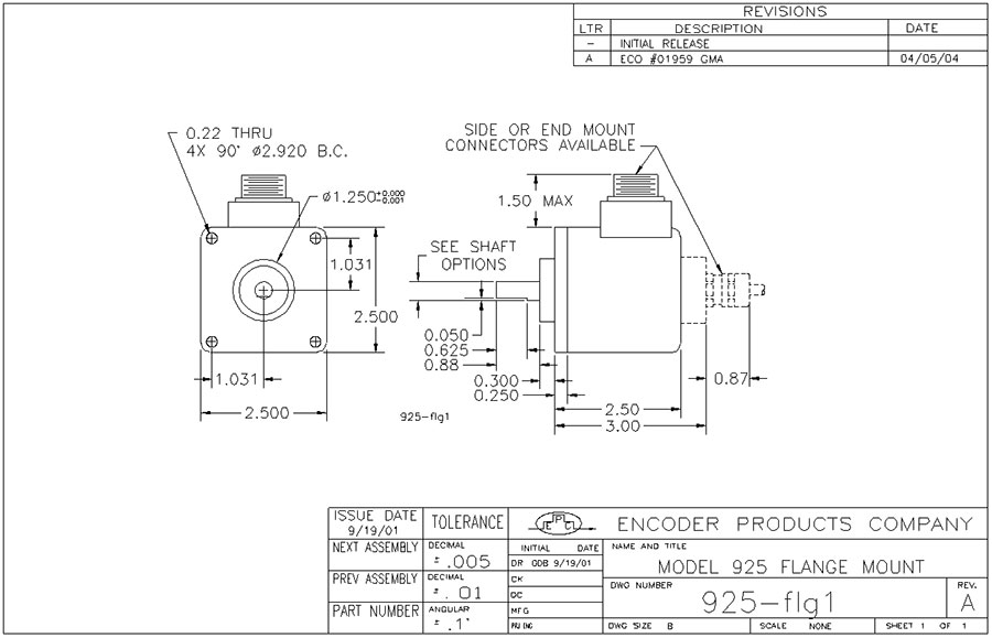 Encoder Products Model 925 Dimension Drawing