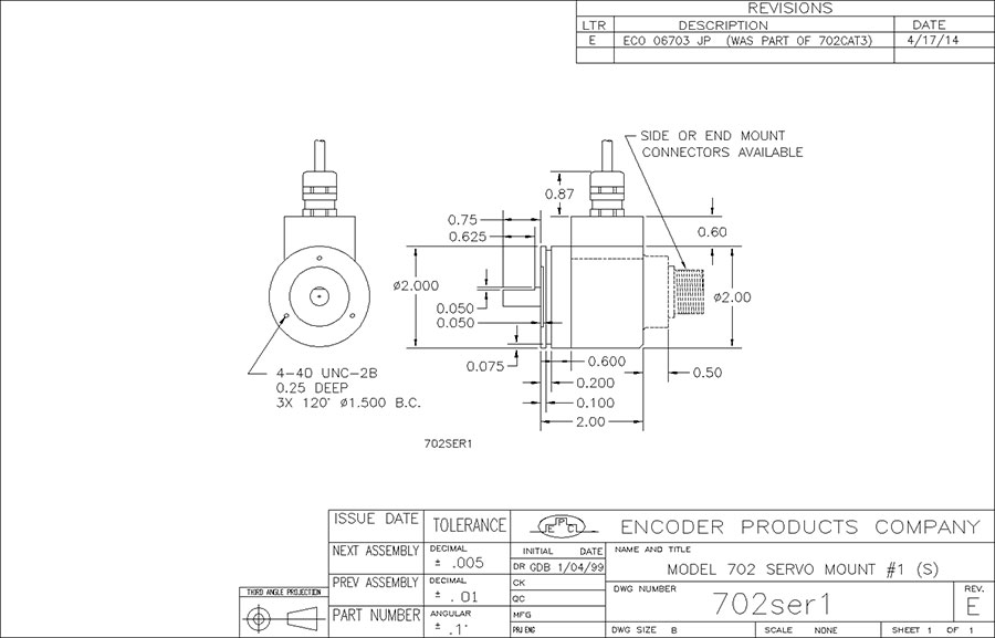 encoder products model 702 dimension drawing
