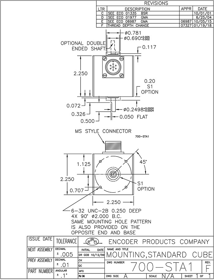 encoder products model 711 dimension drawing