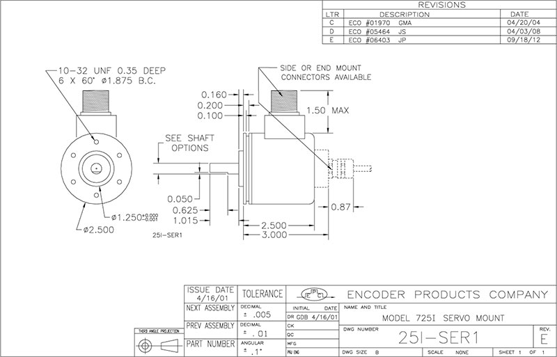 Encoder Products Model 725 Dimension Drawing