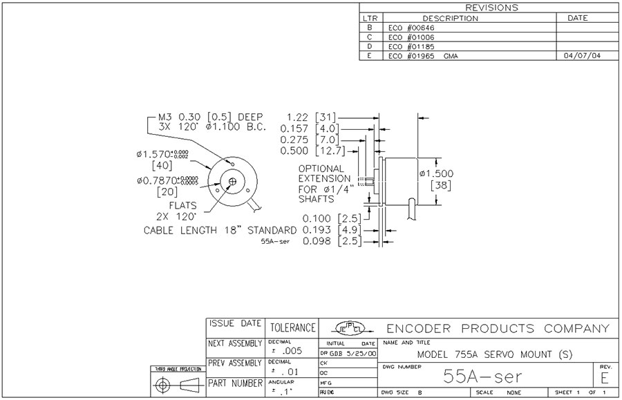 Encoder Products Model 755A Dimension Drawing