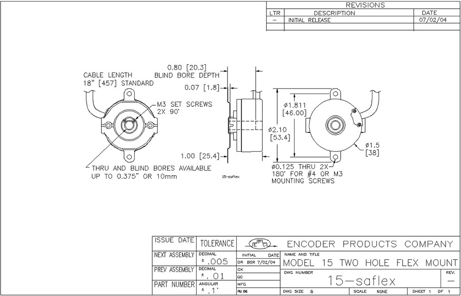encoder products model 15t/h dimension drawing