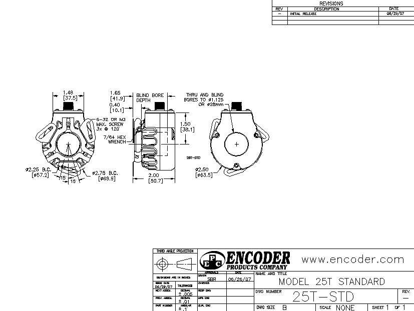 encoder products model 25t/h dimension drawing