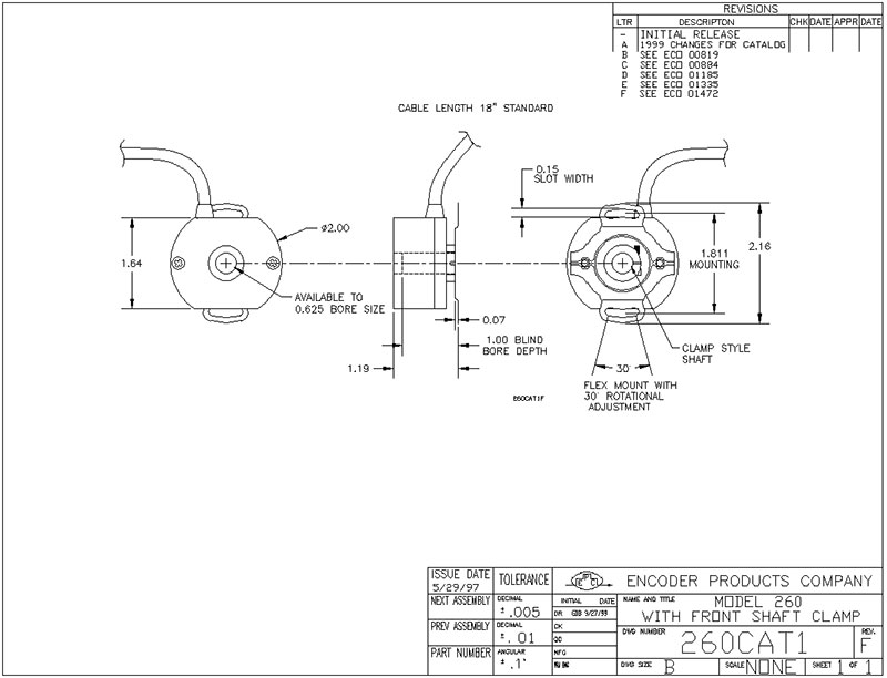 encoder products model 260 dimension drawing