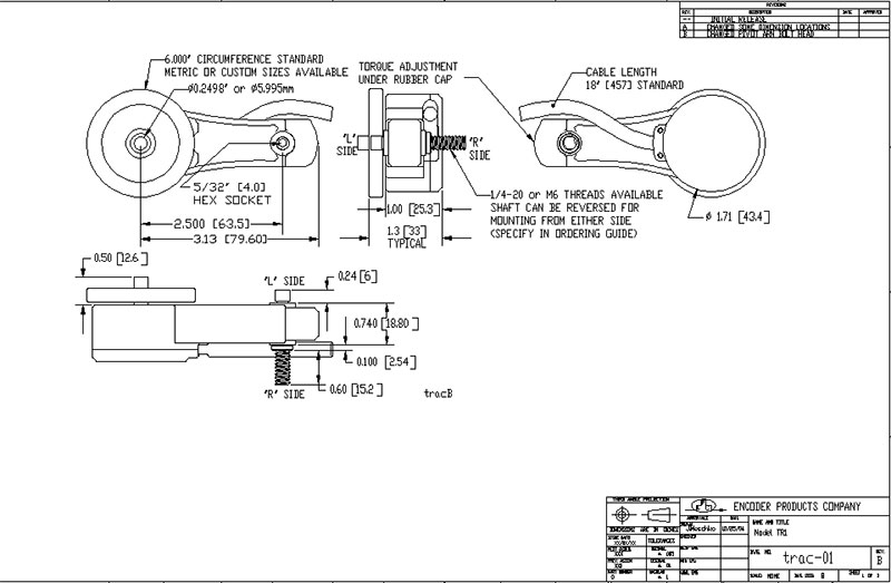 encoder products model tr1 dimension drawing