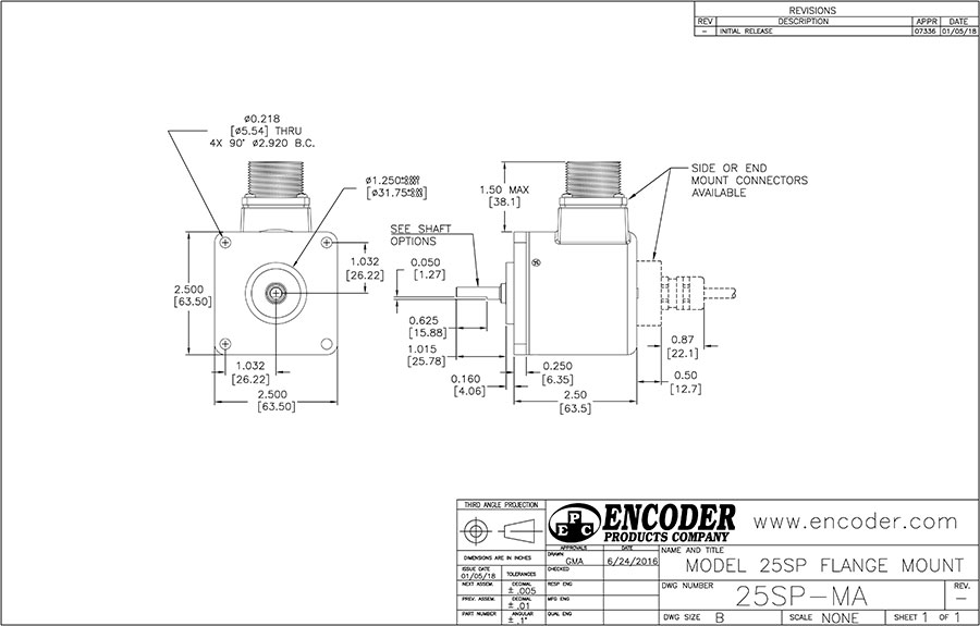 encoder products model 25sp dimension drawing
