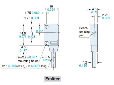 panasonic ex11e sensor dimensions