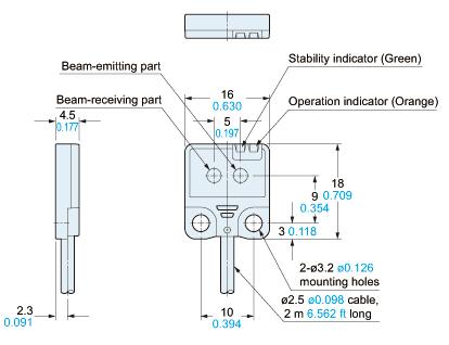 panasonic ex24 sensor dimensions